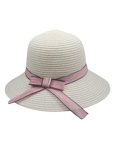 Mujeres Sombrero de sol Sombrero de paja Sombreado ancho Contraste Arco Cinta Verano Sunbonnet Fedora Beach Panama Hat