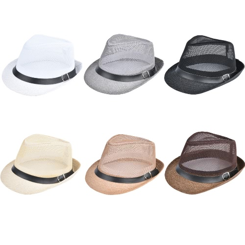 TOMTOP / Fashion Unisex Sun Hat Straw Hat Solid Hollow Out Metal Belt Summer Sunbonnet Trilby Fedora Beach Panama Hat