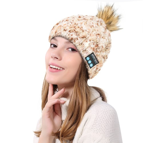 Las mujeres sin hilos de Bluetooth calientan el sombrero hecho punto del pompón de la gorrita tejida