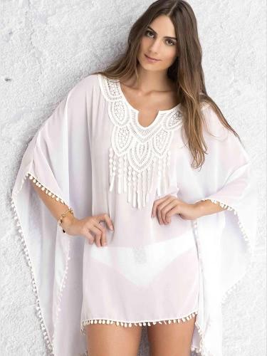 Neue Frauen Minikleid Crochet Lace Cover oben Pompom lässig elegante Beachwear Sommerkleid weiss/blau