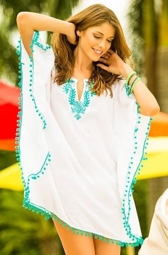 Boho Embroidery Lace Pompom Half Sleeve Bikini Cover Up Beach Dress for Women