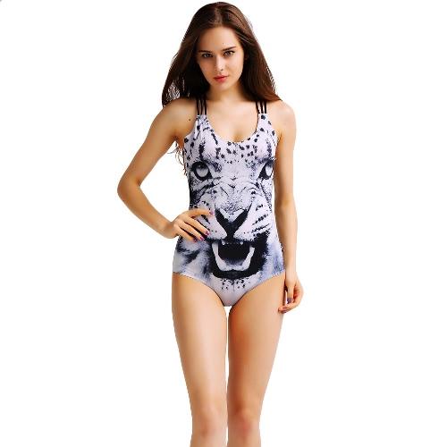 Moda mujer Triquini paisaje animales impresión O cuello cruzado traje de baño traje de baño