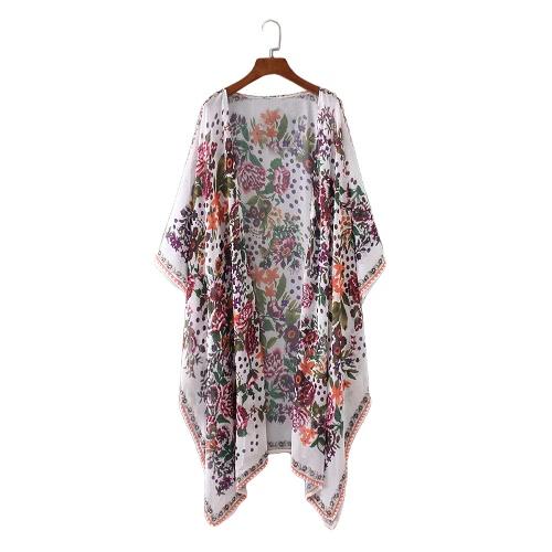 Nuovo chiffon delle donne Kimono cardigan stampa floreale asimmetrica Boho allentato Cappotti Beachwear di occultamento del bikini bianco
