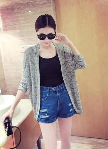 Nueva moda de las mujeres chaqueta de punto manga larga delantera abierta flojo suéter Casual Tops gris/negro