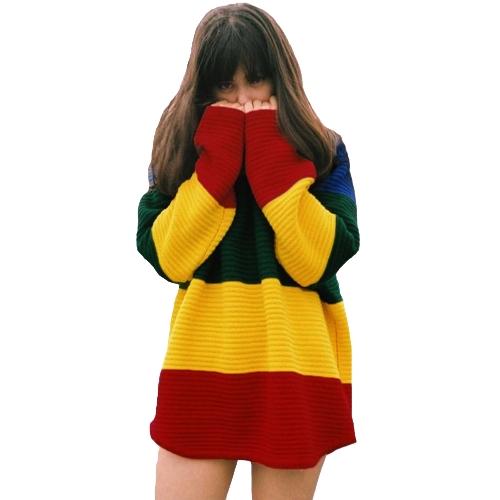 Novas mulheres de malha camisola contraste bloco arco-íris cor O pescoço manga longa camisola de flanela solta no máximo