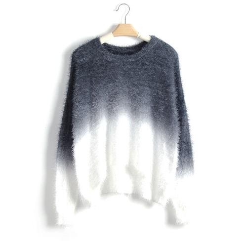 Las nuevas mujeres de la pendiente del suéter tejido esponjoso mohair la manga del Batwing del cuello de O Suéter flojo