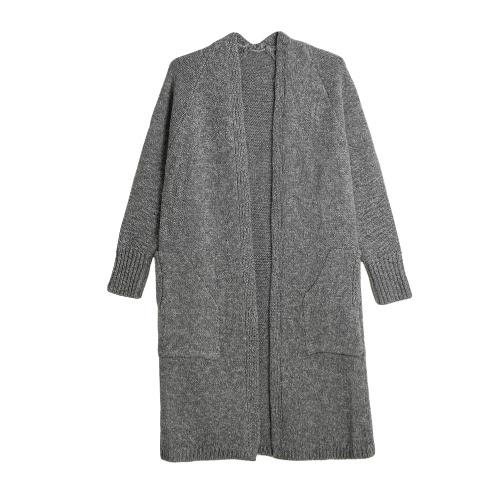 Nueva Otoño Invierno Mujeres chaqueta de punto del suéter de manga larga floja ocasional Punto Gris / Negro / camello