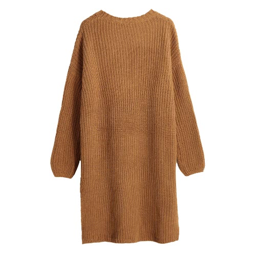 New Women Long Knitted Sweater Vertical Stripes Knitting Dip Hem O-Neck Loose Warm Pullover Tops