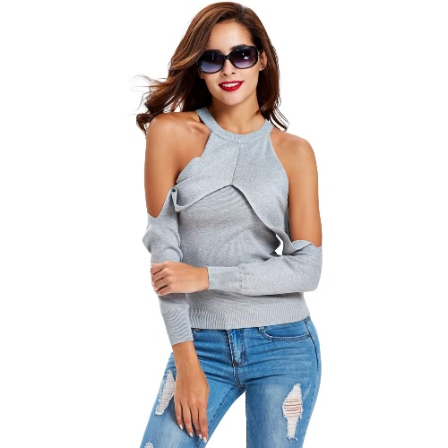 New Sexy Women Knitted Sweater Jumper Off Shoulder Halter Split Sleeves Layer Slim Pullover Knitwear Top