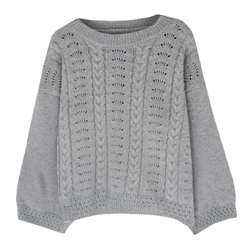 Nuevas mujeres de gran tamaño de punto jersey o-cuello de manga larga sólidos cálidos jerseys Top prendas de punto marrón / gris / blanco