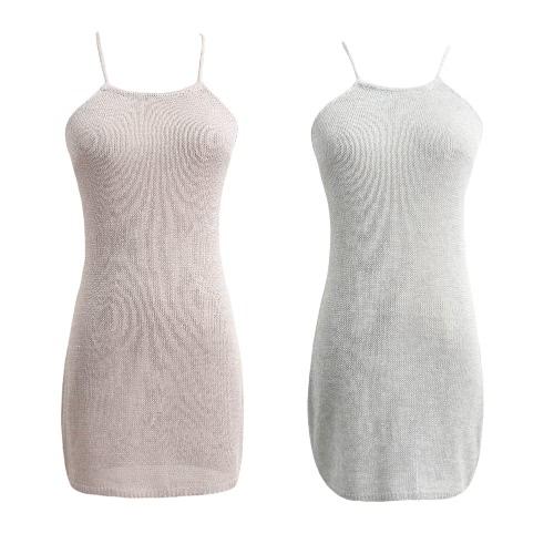 7ce53fb5d6 Sexy Women Sheer Knit Dress Strap Halter Criss Cross Backless Beach Cover Up  Party Nightclub Mini