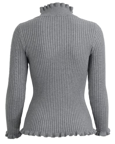 Women Ribbed Knitted Pullover Sweaters Turtle Neck Ruffles Solid Slim Stretchy Jumpers Knitting Top
