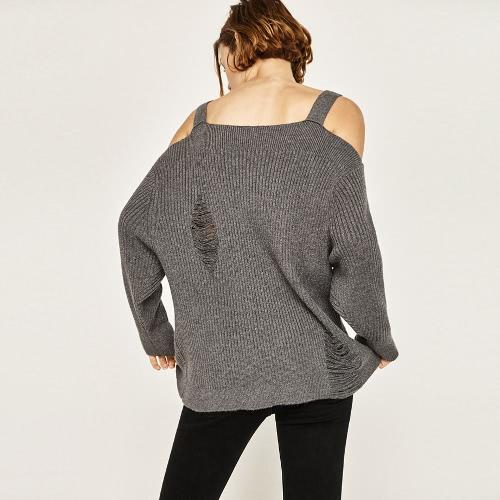 Новые женщины Осень Зима Вязаные свитера Спагетти ремень длинный рукав выдолбленный свитер свитер серый / черный фото