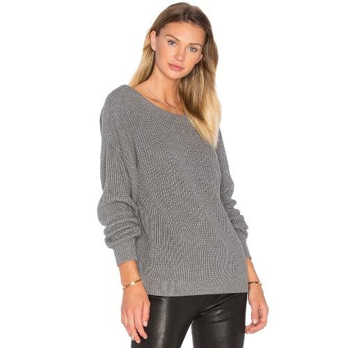 Otoño Top Backless suéter de punto mujeres de gran tamaño de invierno de punto jersey de tirón suelto Negro / Gris
