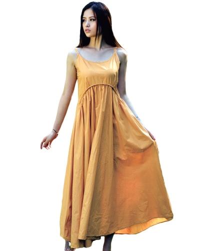 Cami Mujeres Vestido largo sin mangas bolsillos ajustables Spaghetti correas Wide Hem sólido vestido de playa Maxi