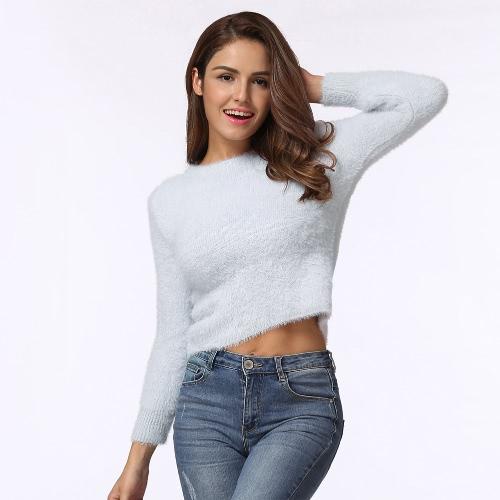 Moda mujer tejida suéter sólido O-cuello de manga larga casual caliente invierno puño jersey de punto