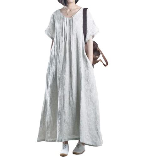 Moda Mujeres Linen Maxi Vestido Deep V Mangas cortas Bolsillos laterales Vestido largo Vestido largo Negro / Gris