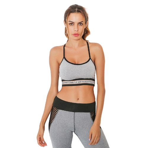 Sexy Frauen Strappy Sport Gepolsterte Weste Briefe Open Back Workout Yoga Crop Top Fitness Tank Top Schwarz / Grau
