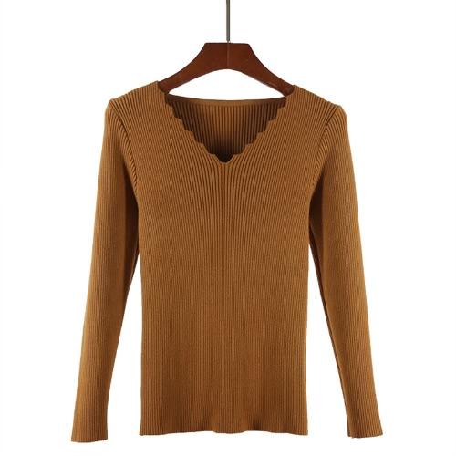 Art und Weisefrauen-grundlegende gestrickte Strickjacke wellenartig bewegende V Ansatz-lange Hülse beiläufige dünne elastische Knitwear-Oberseiten-Pullover