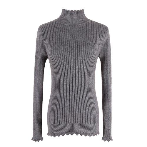 Las nuevas mujeres hicieron punto el suéter sólido de la onda larga del suéter del cuello alto del suéter que adelgazaba la parte inferior básica de los géneros de punto