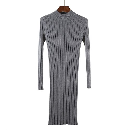 Invierno Mujeres Bodycon vestido de punto O-cuello de manga larga Elegante Slim caliente jersey de punto