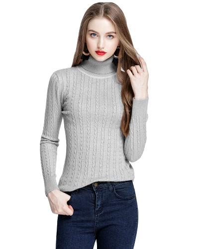 Las mujeres de la manera retorcieron la sudadera con capucha de cuello alto de cuello alto tejida del suéter del alto suéter elástico sólido de alto rendimiento que adelgazan las telas de punto