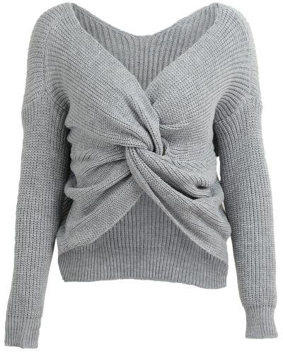 Las mujeres sueltan los suéteres de punto V cuello arco trasero mangas largas dejó caer la cruz de hombro Casual Puente de punto