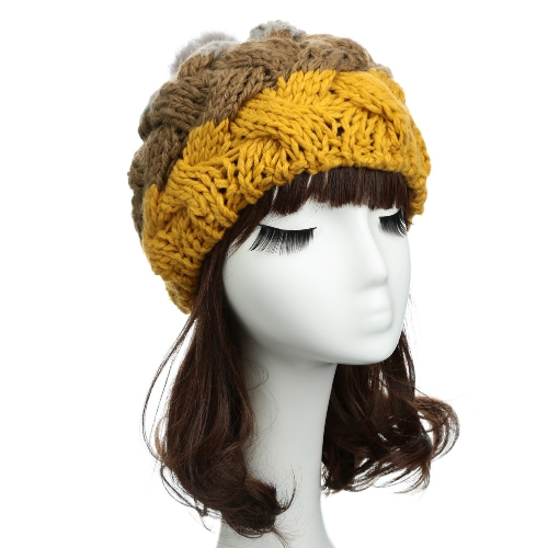 Las mujeres de moda lindo sombrero hecho punto del ganchillo falso conejo piel bola boina punto oído protectores sombreros niña caliente gorro