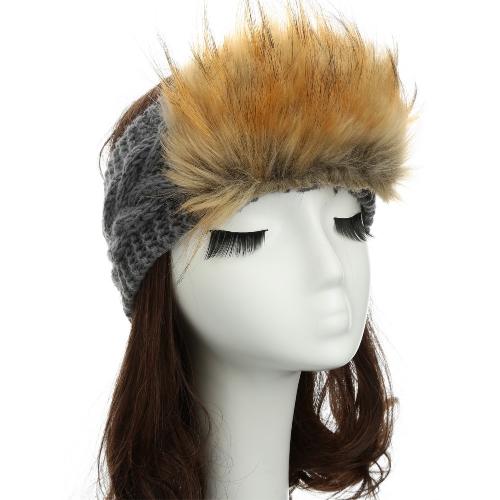 Nueva mujer punto venda piel del Faux ajuste elástico diadema oreja caliente sombrero sombreros