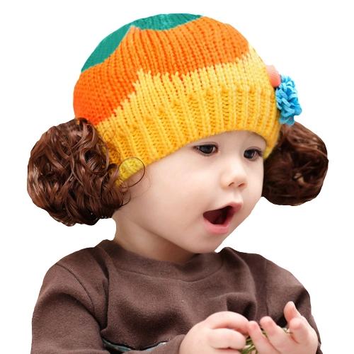 Caliente de invierno lindo niños niñas chicos Kintted sombrero Color caramelo bloque pequeños bebés niños gorro