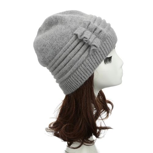 Nova moda de mulheres de malha chapéu plissado ornamento muitas cores grosso aquecedor Cap Headwear