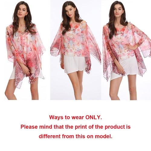 Image of Neuer Frauen-Chiffon-Schal Kontrast Blumendruck Double-Layer-Perlen-lange Schal-elegante Schal-Strand-Abdeckung