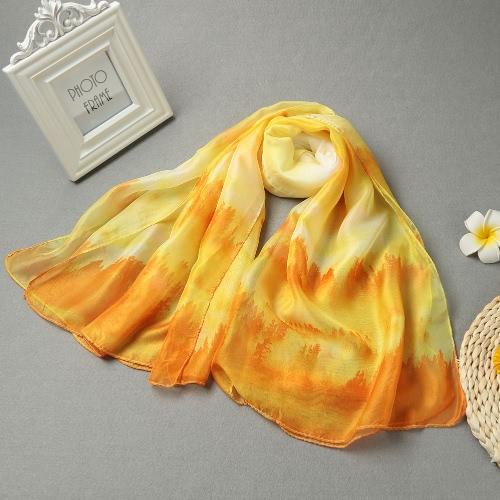 Mujeres largo mantón de la bufanda de múltiples maneras Bosque de impresión de doble capa del grano fino Cierre de Verano bufandas Pashmina Cover Up