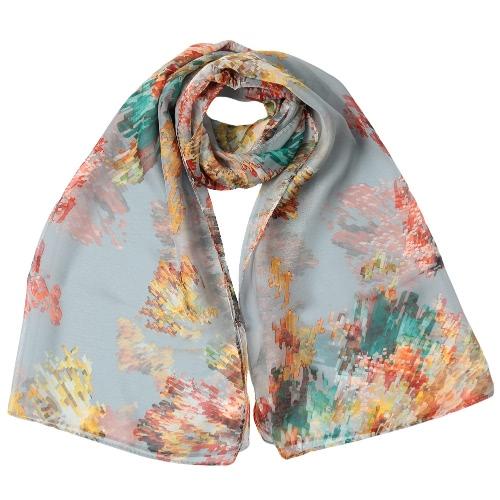 Neue Art und Weise Frauen-Chiffon- Schal Sonderdruck Kontrast-Farben-langer dünner Schal Pashmina
