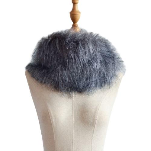 Nuevas mujeres de invierno Faux Fur Neckerchief sólido cálido Cuello suave Collar Bufanda corta Bufandas de lujo