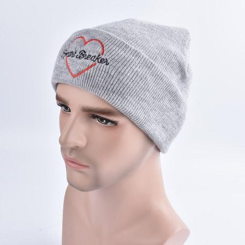 Cappello invernale del ricamo del cappello del ricamo Cappuccio solido del manicotto degli uomini unisex delle donne HipHop caldo cappotto a maglia capo grigio