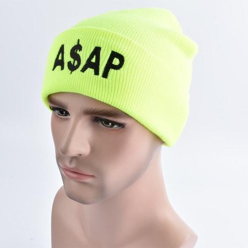 Unisex hombres mujeres gorritas tejidas Hat ASAP carta Skullies holgazán hip pop invierno Bonnet Caps