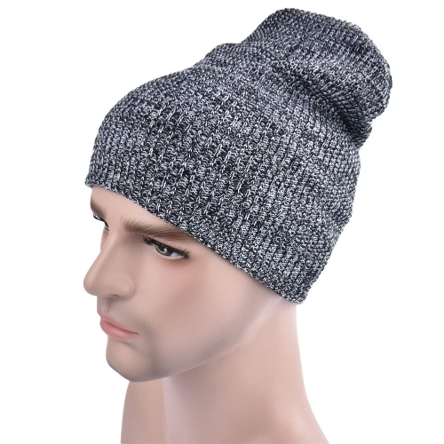 Hombres Mujeres Unisex Tejido Baggy Beanie Invierno llanura esquí caliente Slouchy Skull Crochet Knit Cap Hat