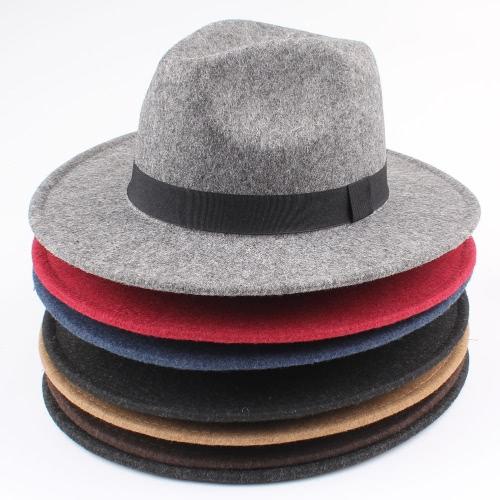 Women Men Unisex Felt Trilby Hats Wide Brim Adjustable Fedora Jazz Hat Caps