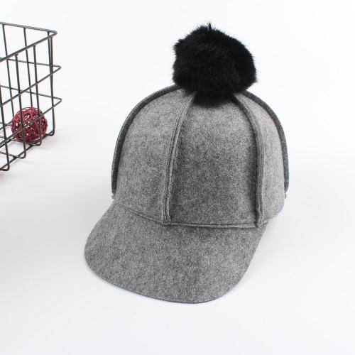 Neue Winter Unisex Wolle Solid Cap Bobbles Casual Mann Frau Baseball Flache Hut