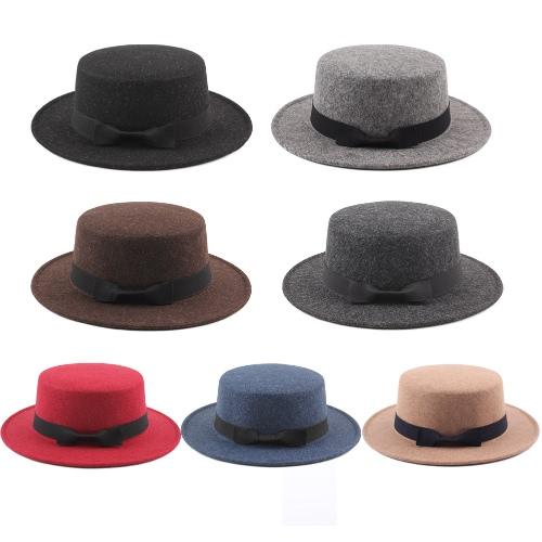 Vintage Women Men Wide Brim Ribbon Warm Wool Blend Felt Hat Unisex Trilby Fedora Cap Cowboy Hat Gorras GA0619GY