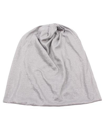Los nuevos hombres de la manera mujeres Shimmer Metallic Hat Beanie Cap Skullcaps sólido unisex al aire libre Caps