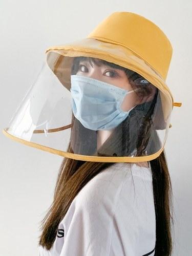 Frauen Bucket Hat Abnehmbarer Schutzgesichtsschutz Clear Visier Transparente Maske Anti Splash Summer Sun Hat Angeln Strand Travel Caps Casual Hats