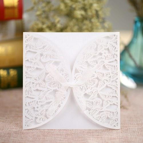 10Pcs romantique mariage Party Invitation carte enveloppe délicate sculpté Butterlies Pattern