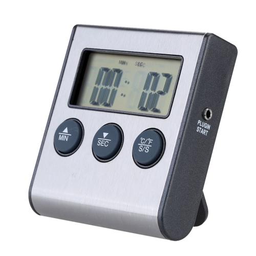 Thermomètre de Cuisson Numérique avec Minuterie Probe Fonction d'Alarme et de Compte à Rebours 0-250°C/32-482°F
