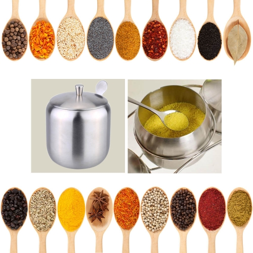 Stainless Steel Drum Shaped Cruet Seasoning Pot Sugar Coffee Can Container with Spoon Kitchen Tool