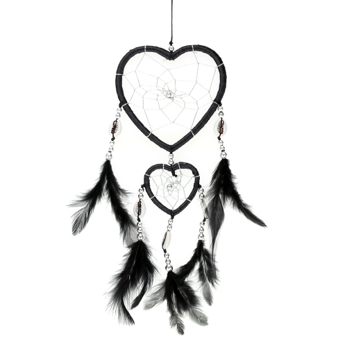 Heart Shaped Handmade Dream Catcher With Feather Bead Shell