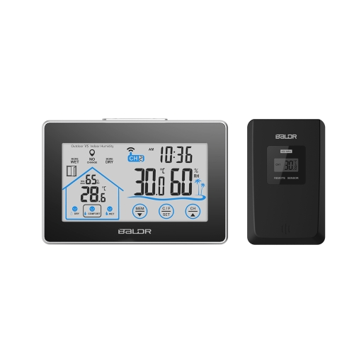 Wireless Indoor Outdoor Digital LCD Thermometer Hygrometer Clock Temperature Humidity Measurement Comfort Level Indictor Touch Button
