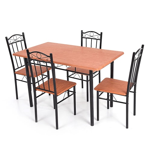 iKayaa 5pcs Modern Dining Table Chairs Set Wood Steel Frame Furniture for Kitchen Restaurant