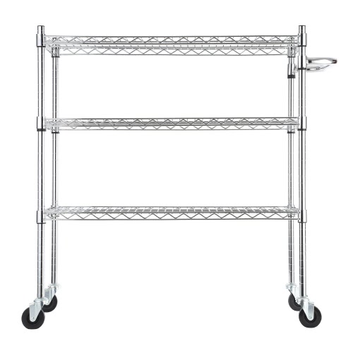 Low-carbon Steel Multi-functional 3-Tier Wire Rolling Cart Storage Rack Shelf with Rubber Wheels for Kitchen Restaurant Garages 35*18*39